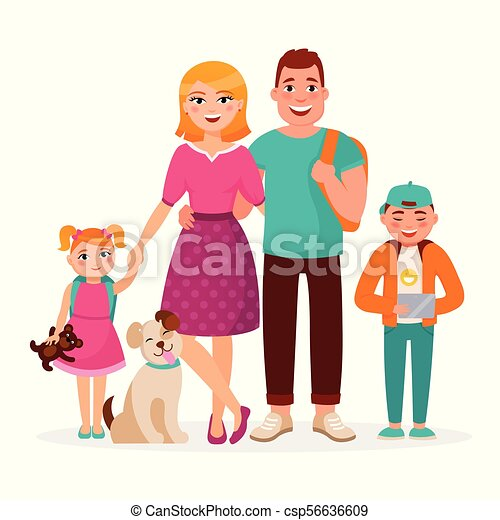 Caucasian Family Cartoon Characters Vector Flat Design Isolated On White  Background. Happy Parents