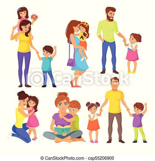 vector cartoon style illustration of caucasian family vector rh canstockphoto co uk clipart of five family members free clipart family members