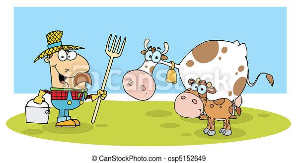 Caucasian Farmer With His Cattle - csp5152649