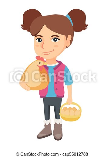Caucasian girl holding a chicken and hen eggs. - csp55012788