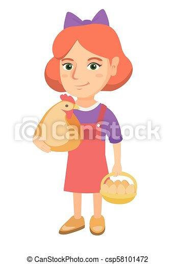 Caucasian girl holding a chicken and hen eggs. - csp58101472
