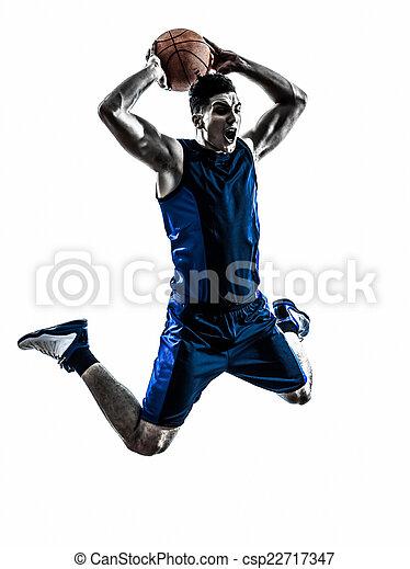 caucasian man basketball player jumping dunking silhouette - csp22717347