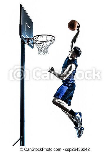 caucasian man basketball player jumping dunking silhouette - csp26436242