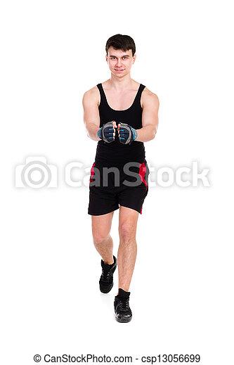 caucasian man exercising workout fitness - csp13056699