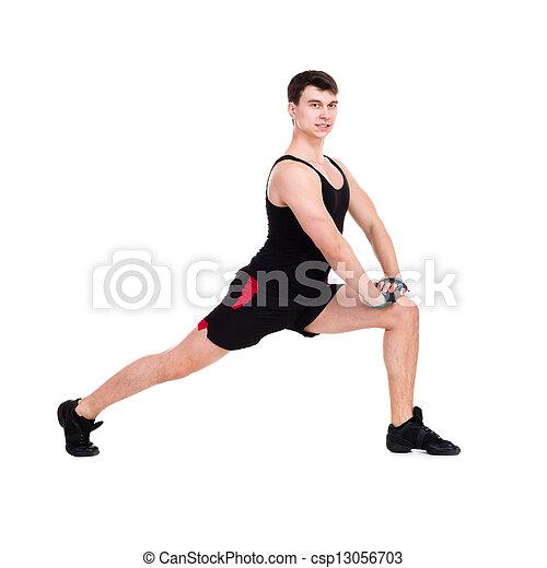 caucasian man exercising workout fitness - csp13056703