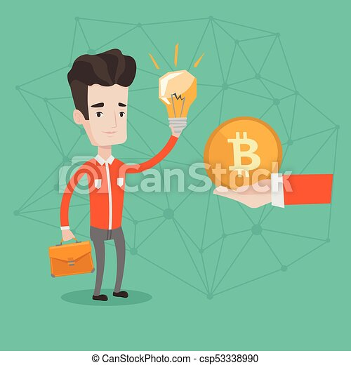 Young man invest in bitcoin