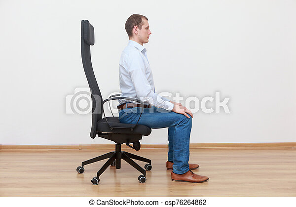 Caucasian Man Sitting On The Edge Of Office Chair In Correct Posture Canstock