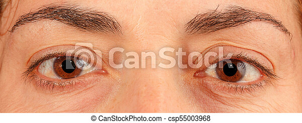 Caucasian old woman brown eyes - csp55003968