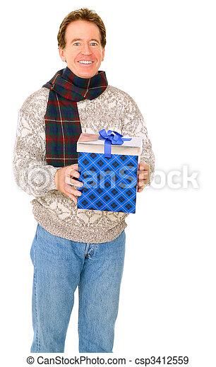 Caucasian Senior Man In Winter Dress Holding Gift - csp3412559