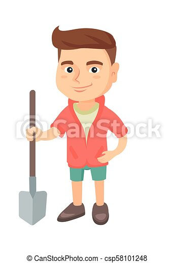 Caucasian smiling boy holding a shovel. - csp58101248