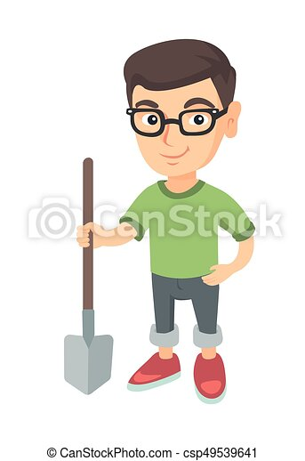 Caucasian smiling boy in glasses holding a shovel. - csp49539641