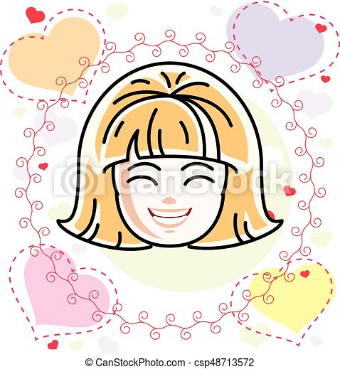 Caucasian Type Girl Face Expressing Positive Emotions Vector Human