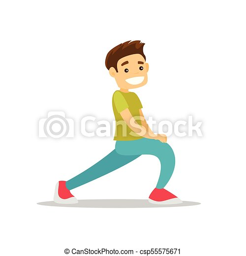 Caucasian White Man Doing Stretching Exercise Young Happy Caucasian White Man Doing Stretching Warm Up Exercise Sportsman