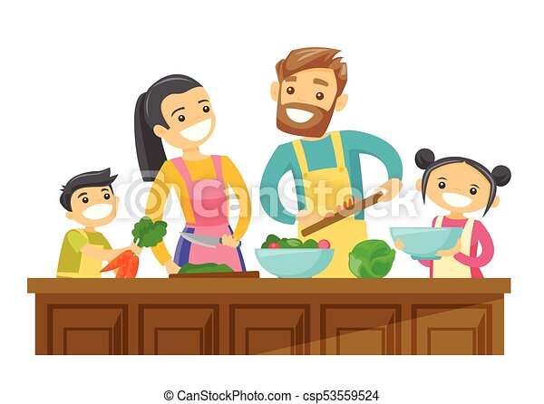 caucasian white parents with kids cooking together young vector rh canstockphoto com