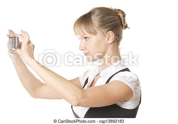 Caucasian woman making shot sideview - csp13892183