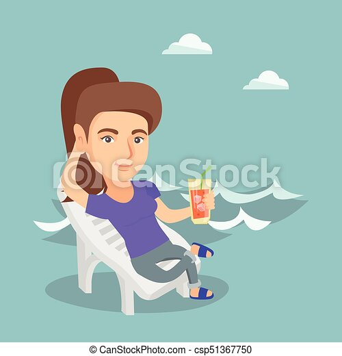 Caucasian woman relaxing on a chaise-longue. - csp51367750