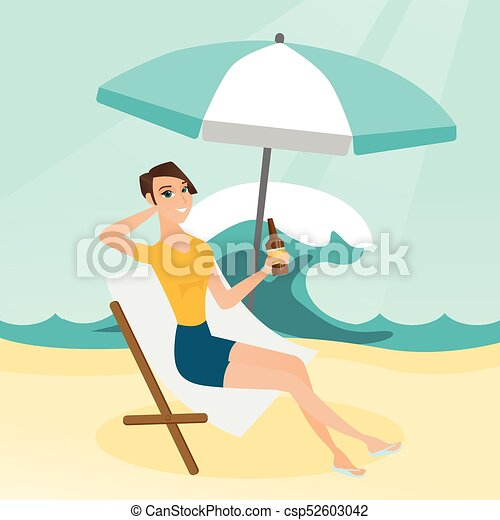 Caucasian woman relaxing on a chaise-longue. - csp52603042