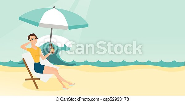 Caucasian woman relaxing on a chaise-longue. - csp52933178