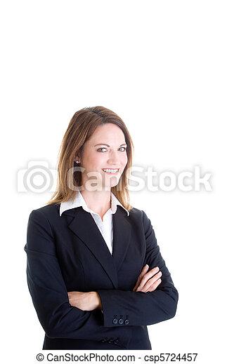 caucasiano, mulher, braços, isolado, confiante, cruzado, fundo, branca, sorrindo - csp5724457