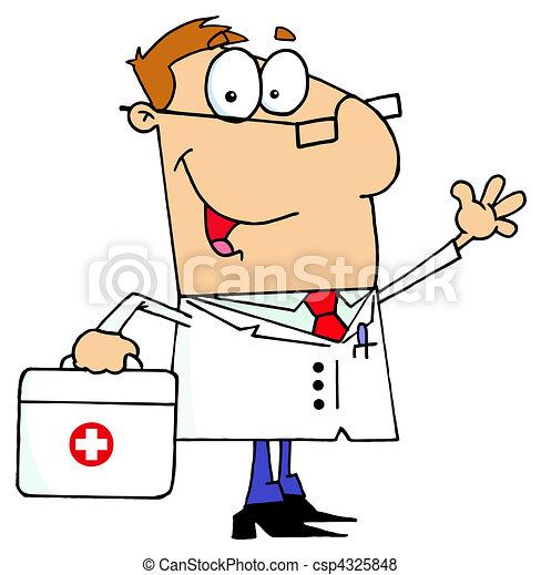 caucasien, dessin animé, docteur, homme - csp4325848