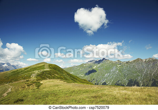 caucasus, cuore, abkhazia., cielo blu, montagne., nuvola - csp7520079