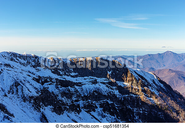 Caucasus Mountains on a sunny day - csp51681354
