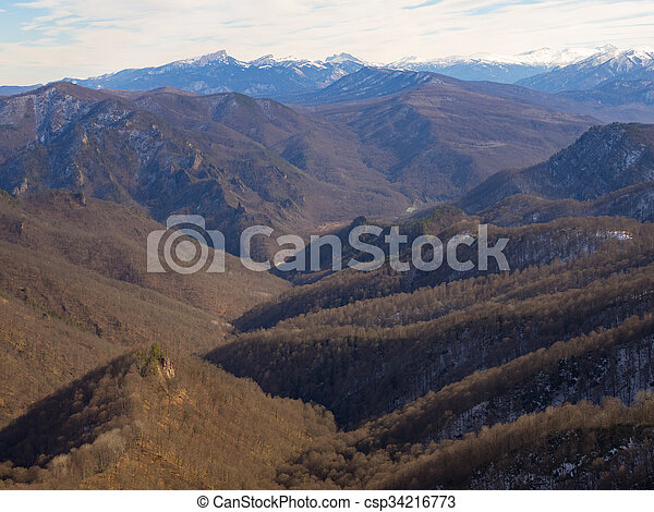 Caucasus mountains on a winter day. - csp34216773