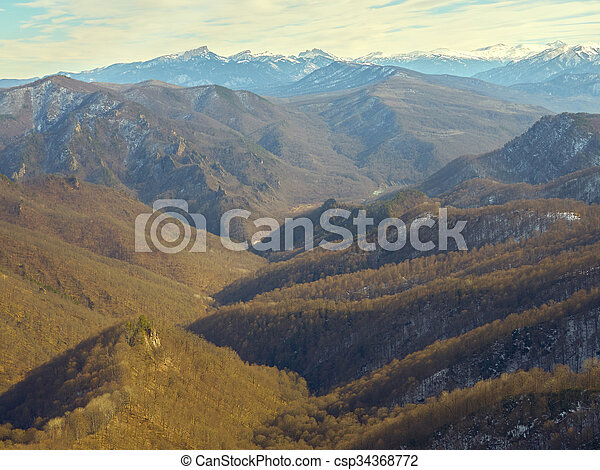 Caucasus mountains on a winter day. - csp34368772