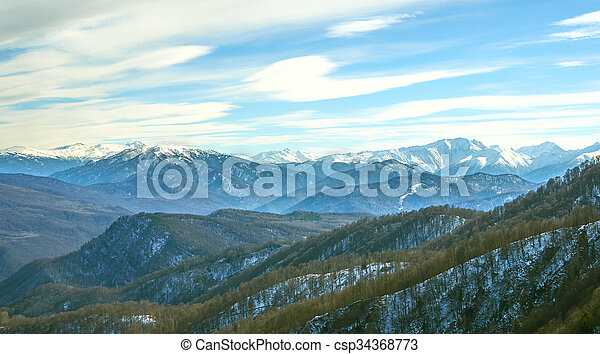 Caucasus mountains on a winter day. - csp34368773
