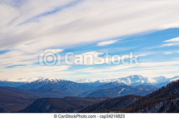 Caucasus mountains on a winter day. - csp34216823