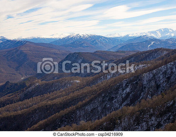 Caucasus mountains on a winter day. - csp34216909