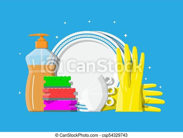 Una botella de detergente, esponja y guantes de goma. - csp54329743