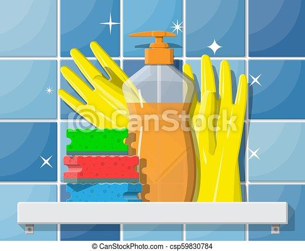 Una botella de detergente, esponja y guantes de goma. - csp59830784