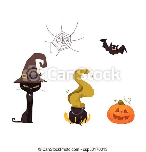 cauldron, dia das bruxas, abóbora, teia, chapéu bruxa, gato - csp50170013