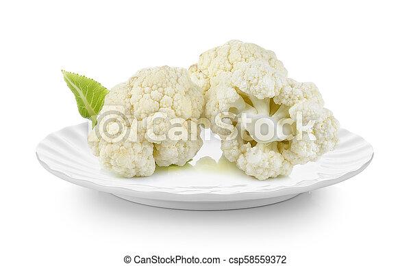 cauliflower in plate on white background - csp58559372