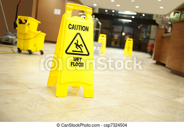 caution lobby mop bucket and sign - csp7324504