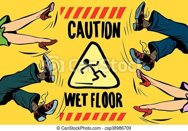 caution wet floor, feet of women and men - csp38986709