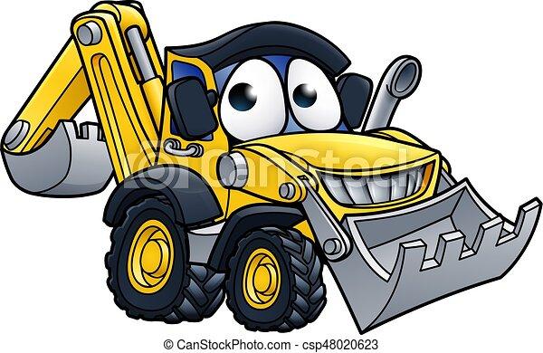 cavador, escavadora, personagem, caricatura - csp48020623