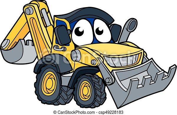 cavador, escavadora, personagem, caricatura - csp49228183