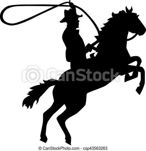 cavalier, cheval, lasso, rodéo, cow-boy - csp43563263