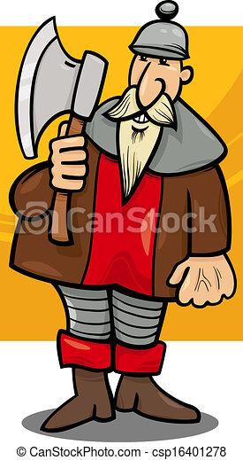 cavaliere, cartone animato, illustrazione, ascia - csp16401278