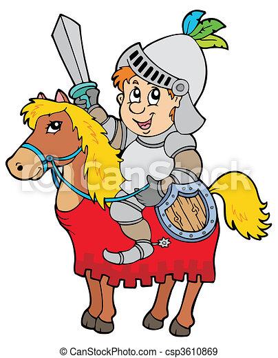 cavaliere, cavallo, cartone animato, seduta - csp3610869