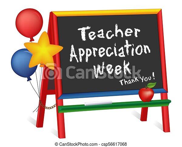 cavalletto, settimana, insegnante, apprezzamento, lavagna, stelle, palloni, bambini - csp56617068