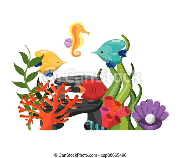 Cavallo Conchiglia Corallo Grafico Alghe Vettore Mare Icon