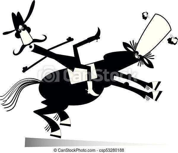 Cavallo cowboy isolato illustrazione cadute giù o uomo