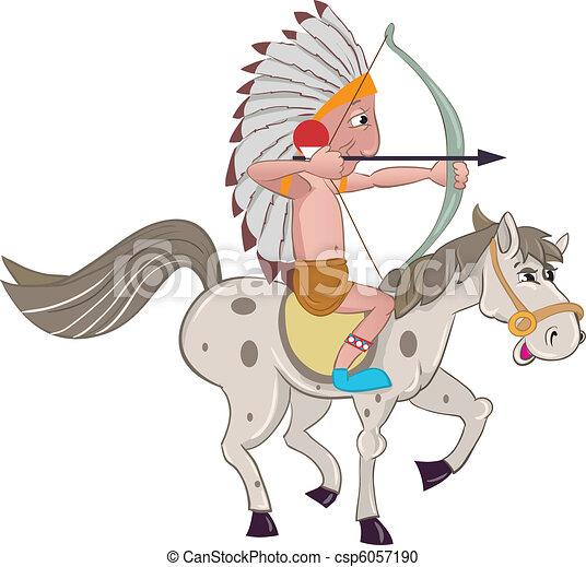 Clipart vettoriali di cavallo indiano american indian su groppacsp6057190 cerca clipart - Dessin anime indien cheval ...