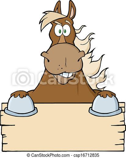 cavallo marrone, vuoto, sopra, segno - csp16712835