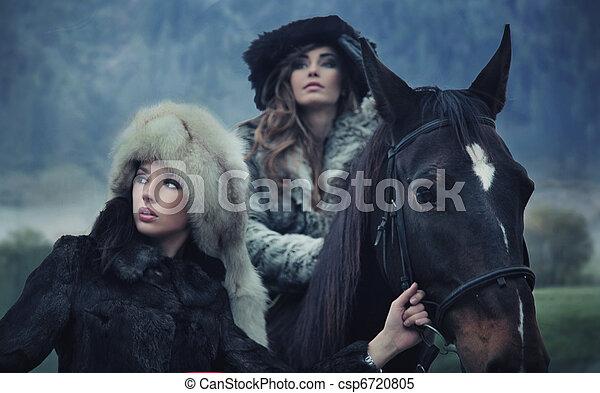 cavallo, romantico, modelli, due, proposta, femmina - csp6720805