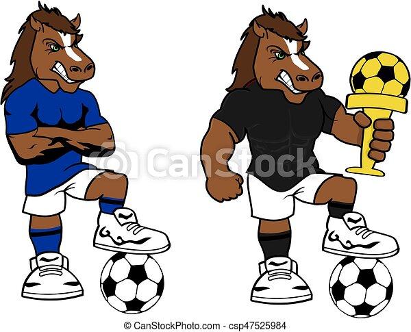 Cavallo set futbol forte calcio cartone animato