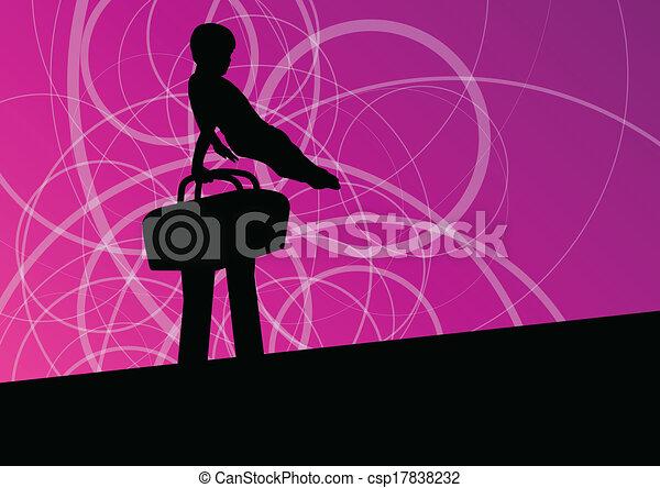 cavallo, silhouette, manifesto, astratto, illustrazione, vettore, fondo, attivo, sport, pommel, bambini - csp17838232